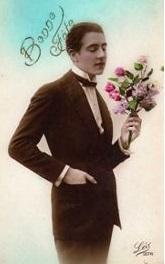 Bonne-Fete-Homme-Romantique-Avec-Bouquet-De-Fleurs-Cartes-postales-753593535_ML