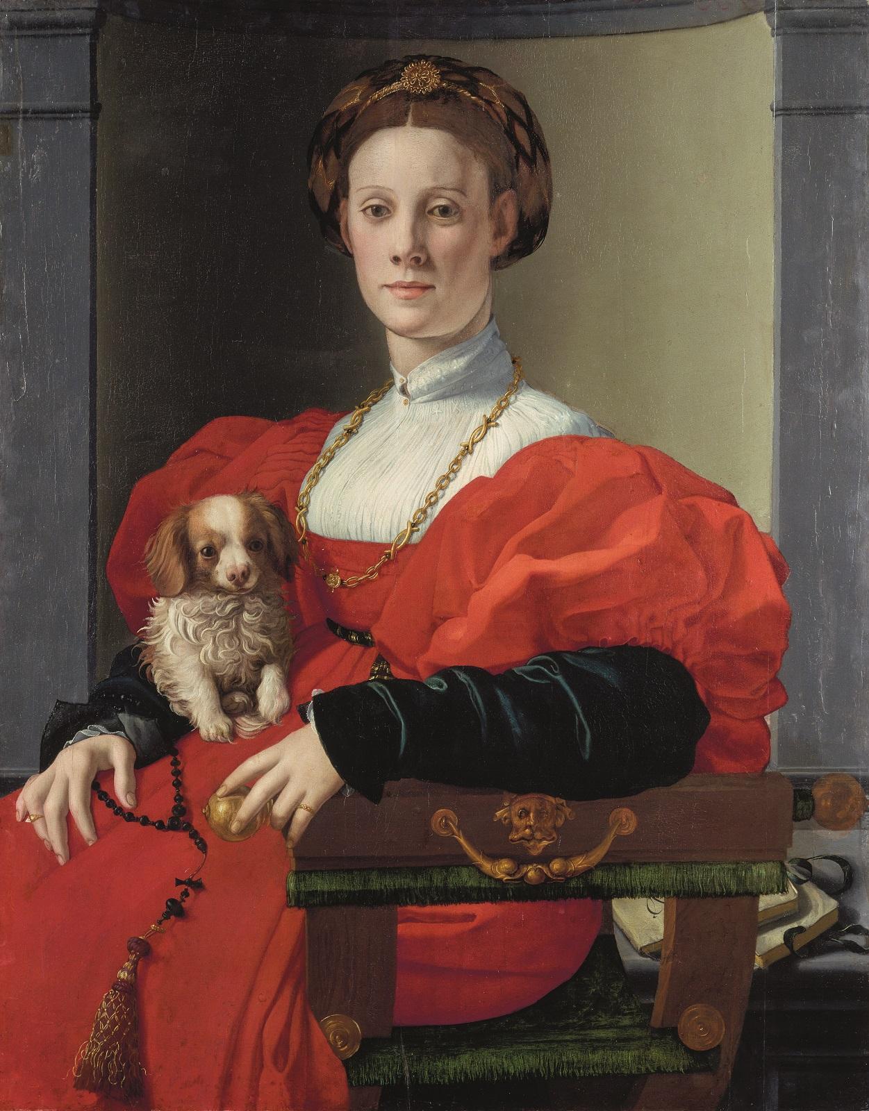Bronzino (Agnolo di Cosimo, dit) Florence, 1503 – 1572 Portrait d'une dame en rouge (détail) Vers 1525 – 1530, huile sur bois, 89,8 x 70,5 cm Francfort-sur-le-Main, Städel Museum © Städel Museum - U. Edelmann / ARTOTHEK