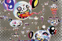 Takashi Murakami Hands Clapsed 2015 Acrylic and platinum leaf on canvas mounted on aluminum frame 180 x 240 cm © 2015 Takashi Murakami/Kaikai Kiki Co., Ltd. All Rights Reserved.