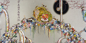 Takashi Murakami Lion Peering into Death's Abyss 2015 Acrylic and gold and platinum leaf on canvas mounted on aluminum frame 150 x 300 cm © 2015 Takashi Murakami/Kaikai Kiki Co., Ltd. All Rights Reserved.