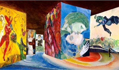 S imulation #1 Marc Chagall La Danse, 1950-52, détail, Centre Pompidou, Musée national d'art moderne, Paris, en dépôt au Musée national Marc Chagall, Nice / Bella au col blanc, 1917, détail, Musée national d'art moderne - Centre Georges Pompidou, Paris / Le cirque rouge, 1956-60, détail, Collection particulière / Les amoureux, 1916, détail, Collection particulière / Au-dessus de la ville, 1914-18, détail, Galerie nationale Tretiakov, Moscou / Les amoureux, 1952, détail, Collection particulière © ADAGP, Paris 2016 - Clichés : Banque d'Images de l'ADAGP