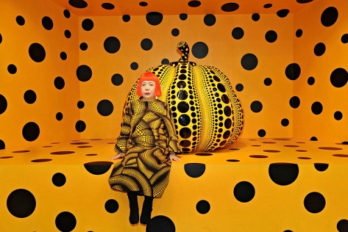 Yayoi Kusama, Kusama with Pumpkin, 2010 © Yayoi Kusama Installation View: Aichi Triennale 2010. Courtesy Ota Fine Arts, Tokyo/ Singapore; Victoria Miro Gallery, London; David Zwirner, New York; and KUSAMA Enterprise