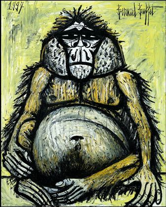 Mes singes, Orang-Outan femelle, Bernard Buffet, 1997 huile sur toile 162 x 130 cm Collection fonds de dotation Bernard Buffet, Paris © Fonds de dotation Bernard Buffet © ADAGP, Paris 2016