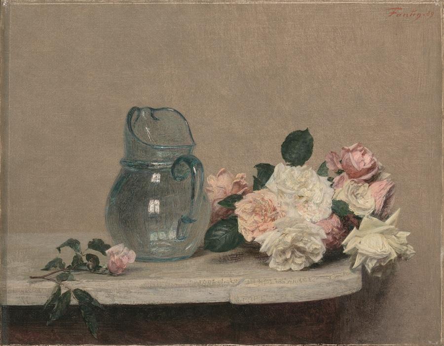 Henri Fantin-Latour Roses 1889 huile sur toile ; 44 x 56 cm Lyon, musée des Beaux-Arts © musée des Beaux-Arts de Lyon / Photo Alain Basset