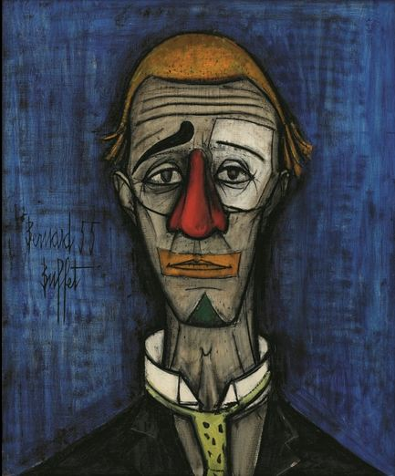 Tête de clown, Bernard Buffet, 1955huile sur toile73 x 60 cm-Collection fonds de dotation Bernard Buffet, Paris © Fonds de dotation Bernard Buffet © ADAGP, Paris 2016