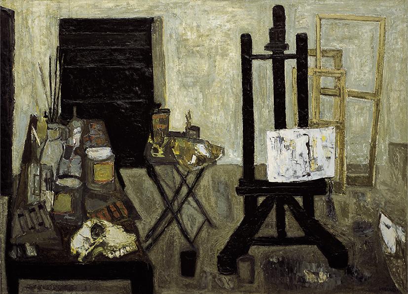 Guerrier, L'Atelier, 1956, huile sur toile, 180x25 cm. Copyright Pierre Basset