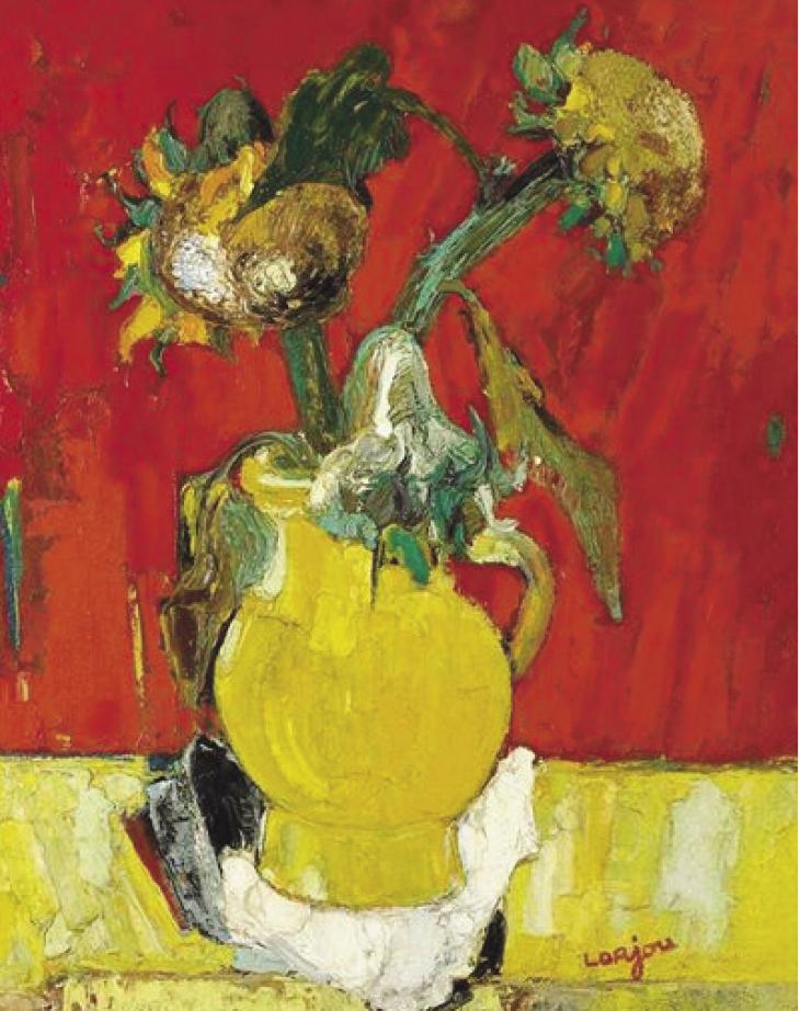 Bernard Lorjou, Les Tournesols, 1954, huile sur toile, 92x73 cm. Copyright Pierre Basset