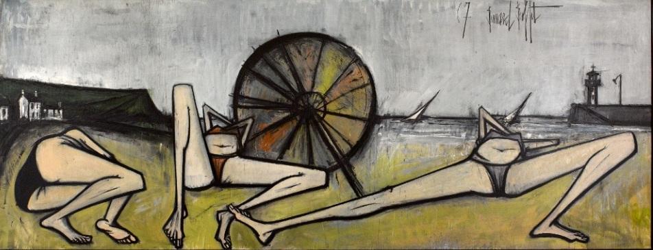 Les Plages, Le Parasol, Bernard Buffet, 1967 huile sur toile 200 x 524 cm Musée d'Art moderne de la Ville de Paris © Musée d'Art moderne / Roger-Viollet © ADAGP, Paris 2016