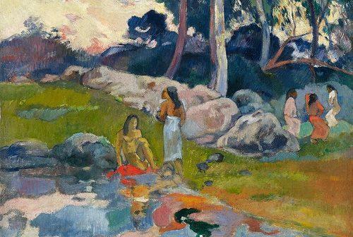 Photo de Une Paul Gauguin (1848-1903) -Femmes au bord de la rivière- 1892 - Huile sur toile - 31,8 x 40 cm © Collection Alicia Koplowitz - Grupo Omega Capital