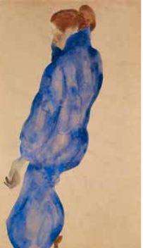 Egon Schiele (1890-1918) -Femme à la robe bleue- 1911 - Aquarelle et lapis sur papier - 47,9 x 28,8 cm© Collection Alicia Koplowitz - Grupo Omega Capital
