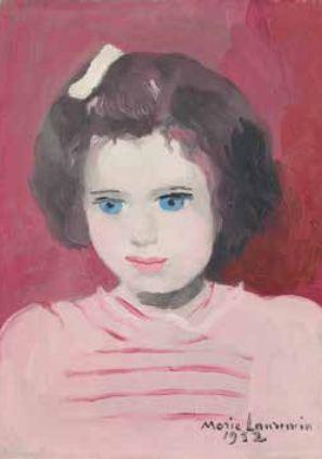 Marie Laurencin (1883-1956),Anne Sinclair à l'âge de quatre ans, 1952, Huile sur toile, 27 x 22 cm, Collection particulière.© Fondation Foujita / ADAGP, Paris, 2016)