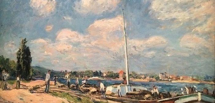 ©Le déchargement des péniches à Billancourt d'Alfred Sisley - 1877 - Collection Hansen - Mid&Plus