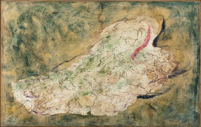 Jean FAUTRIER, La Juive, 1943, Huile sur papier marouflé sur toile, 73 x 115,5 cm Don de l'artiste en 1964 Musée d'Art moderne de la Ville de Paris Crédit photographique : Eric Emo/Parisienne de Photographie © Adagp, Paris, 2017