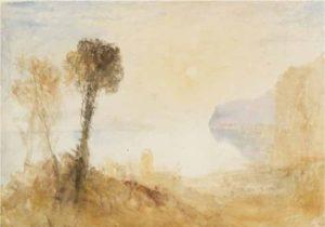©J. M. W. Turner (1775 – 1851), Un paysage italianisant idéalisé avec des arbres au-dessus d'un lac ou d'une baie, éclairé par un soleil rasant, vers 1828–1829, aquarelle sur papier, 31,2 x 43,9 cm, Tate, accepté par la nation dans le cadre du legs Turner 1856, Photo © Tate - Expo Musée Jacquemart André 2020