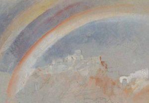 ©J. M. W. Turner (1775 – 1851), Ehrenbreitstein avec un arc-en-ciel, 1840, graphite, aquarelle et gouache sur papier, 14,1 x 19,3 cm Tate, accepté par la nation dans le cadre du legs Turner 1856, Photo © Tate - Expo Musée Jacquemart André 2020